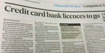 Credit card bank licences to go